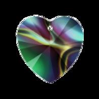 Short Drop Earrings with Rainbow Dark Swarovski® Xilion Hea
