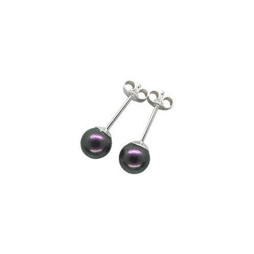 Iridescent Purple Swarovski® Crystal Pearl Stud Earrings