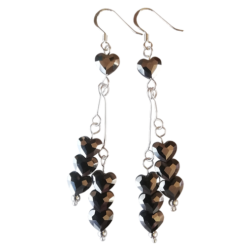 Long Drop Earrings with Swarovski® 'Crystal Silver Night' Love Beads