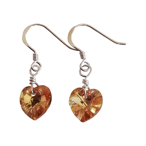 Short Drop Earrings with Crystal Metallic Sunshine Swarovski® Xilion Hearts