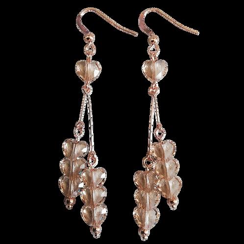 Long Drop Earrings with Swarovski® 'Light Silk' Love Beads