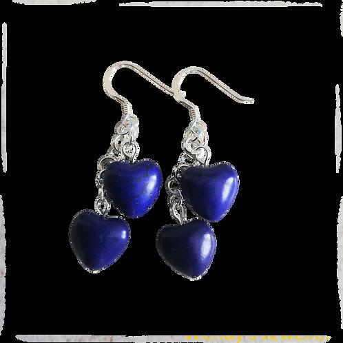 Blue Howlite Heart Earrings