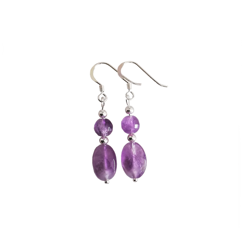 Purple Amethyst Oval Drop Earrings