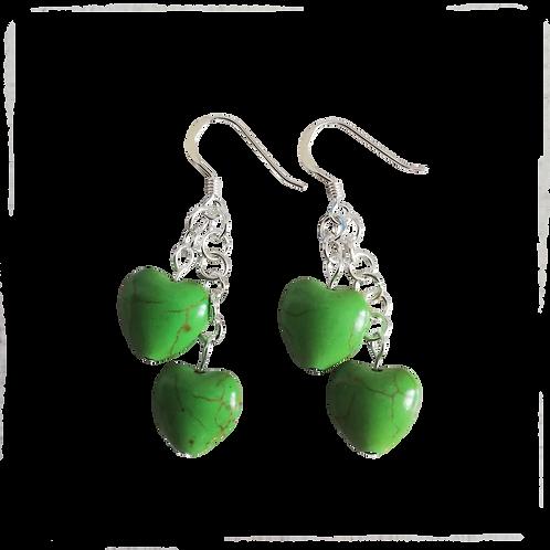 Green Howlite Heart Earrings