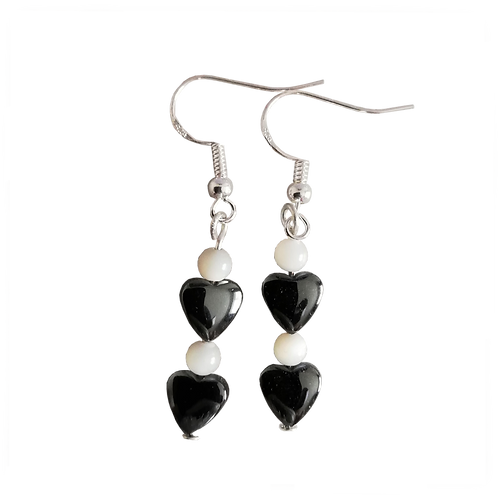 Hematite Heart & Mother of Pearl Earrings