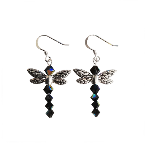 Dragonfly Earrings with Jet AB Swarovski® Crystal Beads