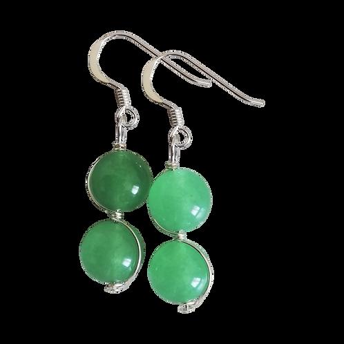 Green Aventurine Wire Wrapped Double Drop Earrings