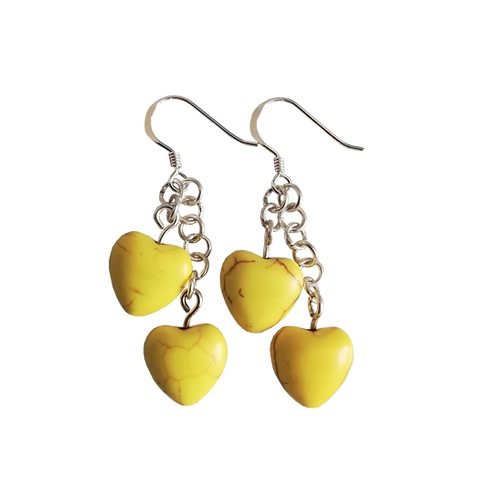 Yellow Howlite Heart Earrings