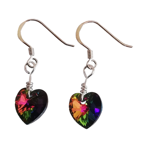 Short Drop Earrings with Crystal Vitrail Medium Swarovski® Xilion Hearts