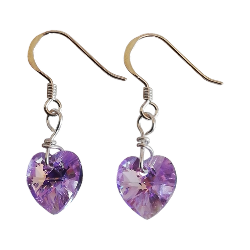 Short Drop Earrings with Violet AB Swarovski® Xilion Hearts