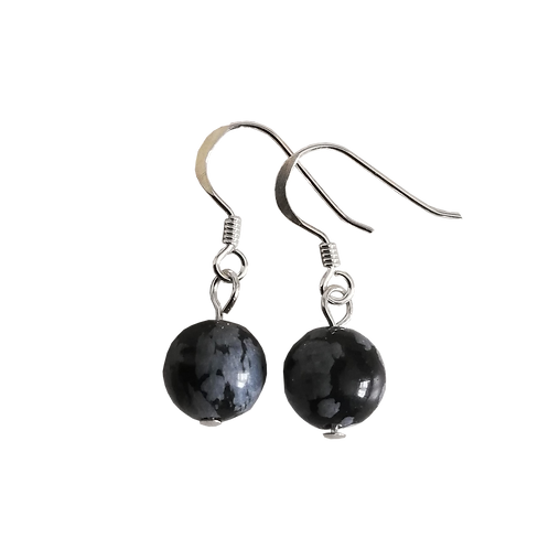 Black Snowflake Obsidian Short Drop Earrings