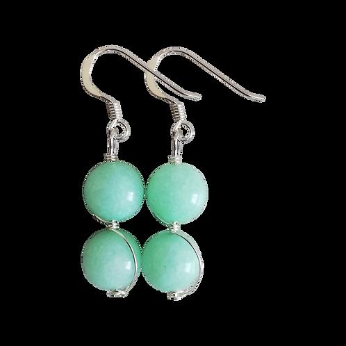 Green Quartzite Wire Wrapped Double Drop Earrings