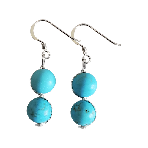 Turquoise Magnesite Wire Wrapped Double Drop Earrings