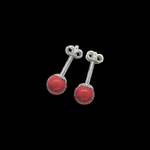 Coral Swarovski® Crystal Pearl Stud Earrings