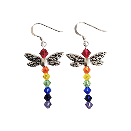 Rainbow Dragonfly Earrings with Swarovski® Crystal Beads