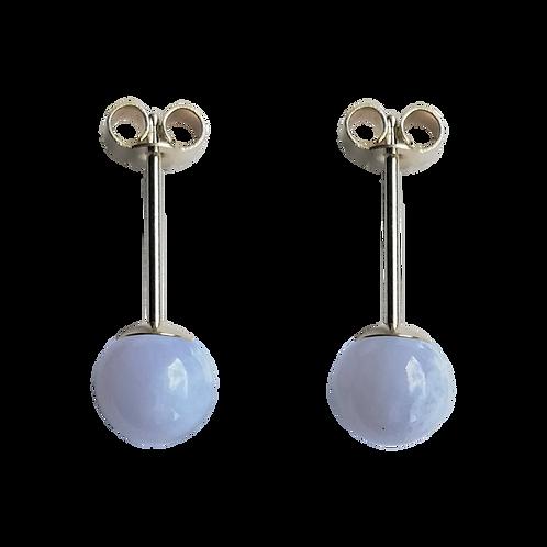 Blue Lace Agate Stud Earrings