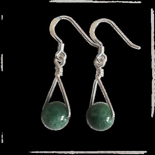 Green Moss Agate Single Drop Earrings