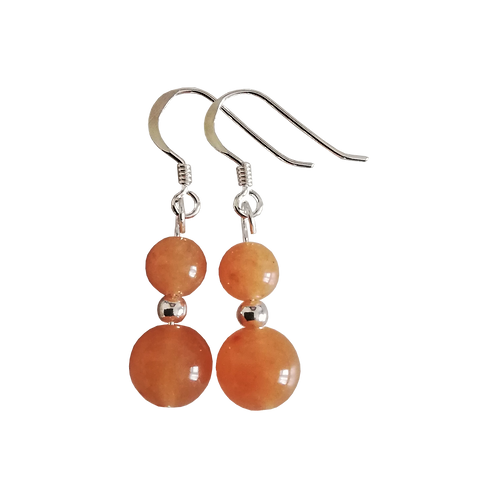 Orange Aventurine Mixed Drop Earrings