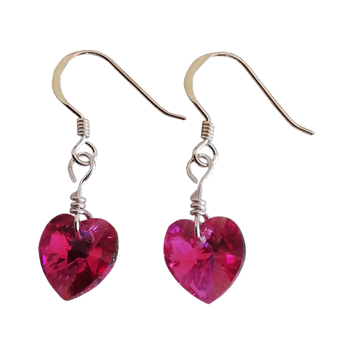 Short Drop Earrings with Fuchsia AB Swarovski® Xilion Hea