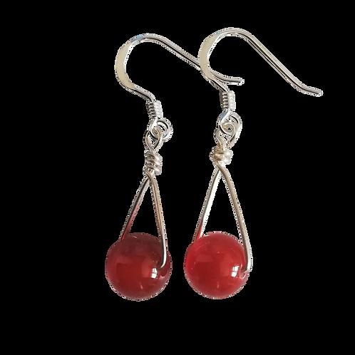 Red Carnelian Single Drop Earrings