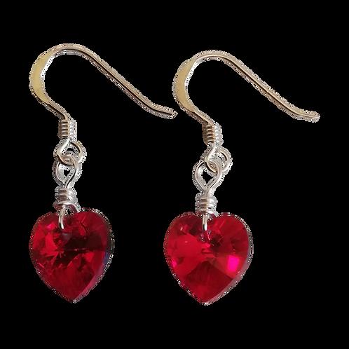 Short Drop Earrings with Siam AB Swarovski® Xilion Hearts