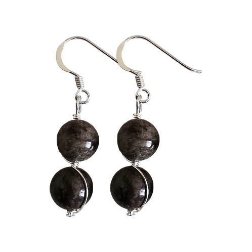 Brown Snowflake Obsidian Wire Wrapped Double Drop Earrings
