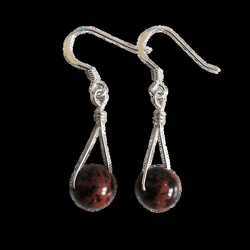 Mahogany Obsidian Single Drop Earrings