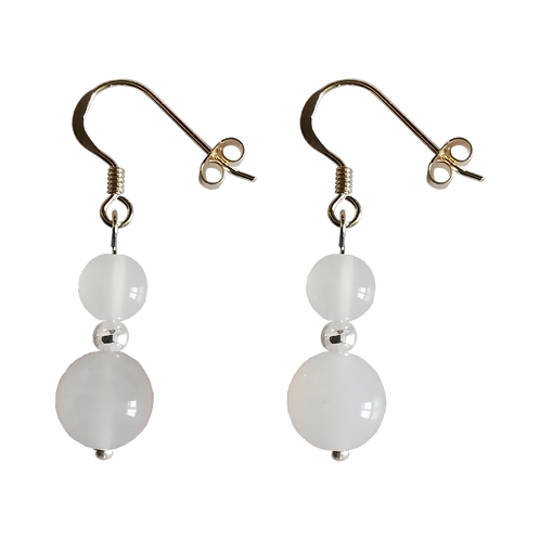 White Agate Mixed Drop Earrings