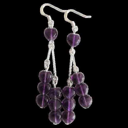 Purple Amethyst Heart Long Drop Earrings
