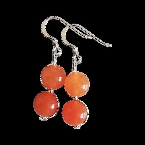 Orange Aventurine Wire Wrapped Double Drop Earrings