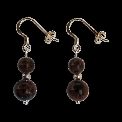 Mahogany Obsidian Mixed Drop Earrings