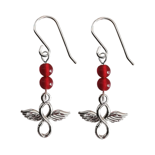 Silver Angel Wings Infinity Charm & Gemstone Earrings