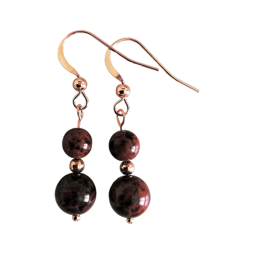 Mahogany Obsidian Mixed Drop Earrings
