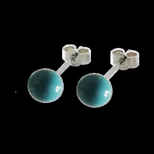 Turquoise Swarovski® Crystal Pearl Stud Earrings