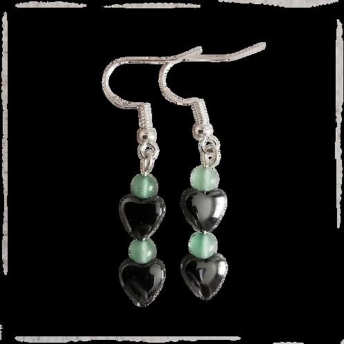 Hematite Heart & Green Aventurine Earrings