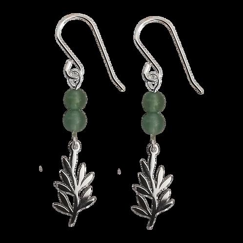 Silver Olive Branch Charm & Gemstone Earrings