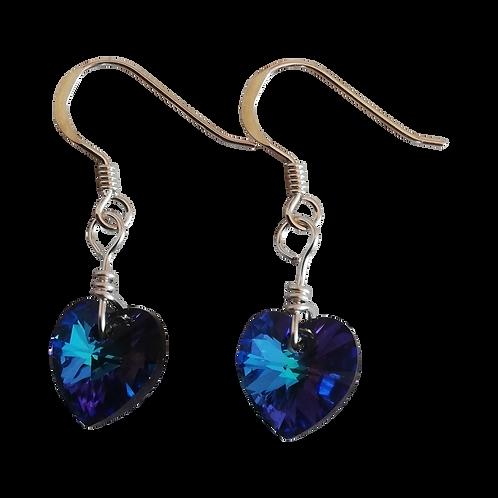 Short Drop Earrings with Heliotrope Swarovski® Xilion Hearts