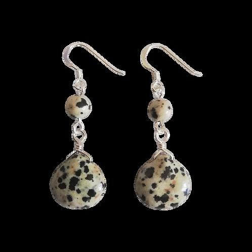 Dalmatian Jasper Teardrop Earrings