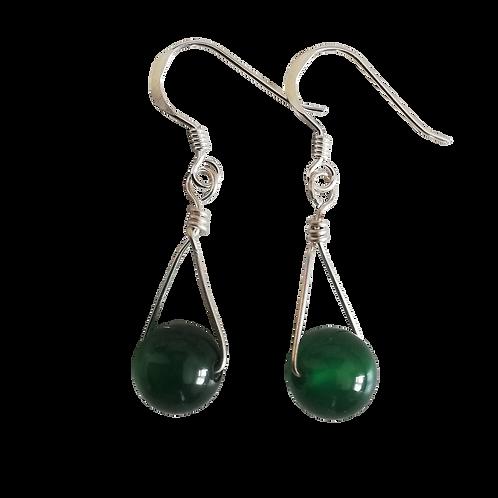 Green Onyx Single Drop Earrings