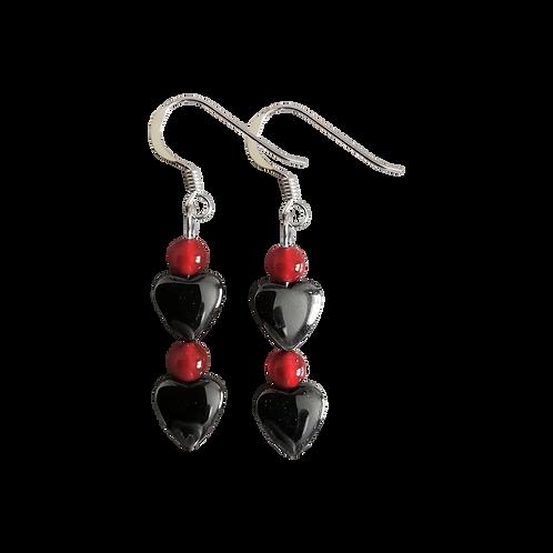 Hematite Heart & Red Carnelian Earrings
