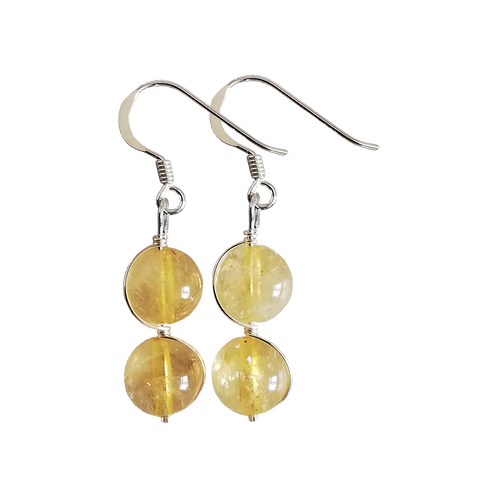 Citrine Wire Wrapped Double Drop Earrings