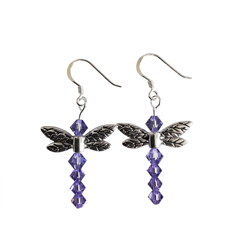 Dragonfly Earrings with Tanzanite Swarovski® Crystal Beads