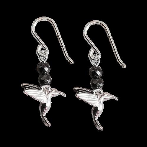 Silver Hummingbird Charm & Gemstone Earrings