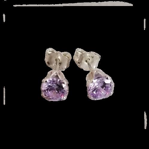 Lavender Cubic Zirconia Stud Earrings