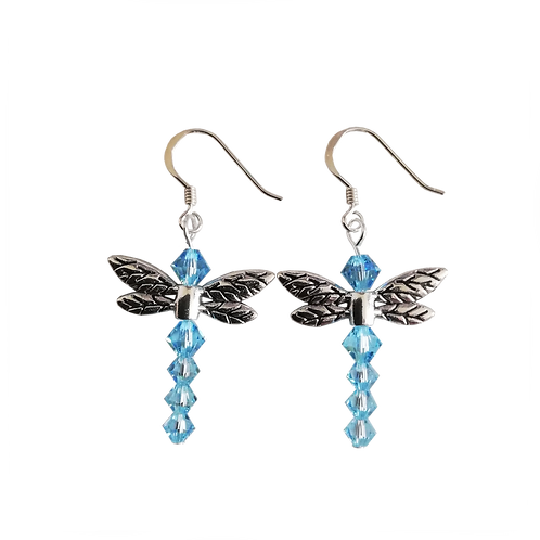 Dragonfly Earrings with Aquamarine AB Swarovski® Crystal Beads