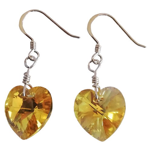 Short Drop Earrings with Light Topaz AB Swarovski® Xilion Hearts