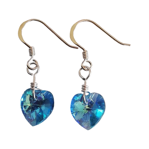 Short Drop Earrings with Aqua AB Swarovski® Xilion Hearts