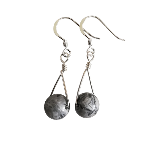 Grey Scenery Jasper Single Drop Earrings