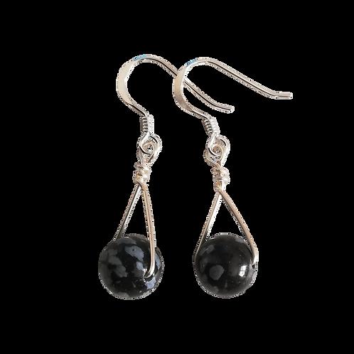 Black Snowflake Obsidian Single Drop Earrings