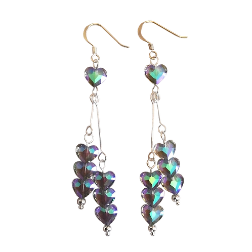 Long Drop Earrings with Swarovski® 'Paradise Shine' Love Beads